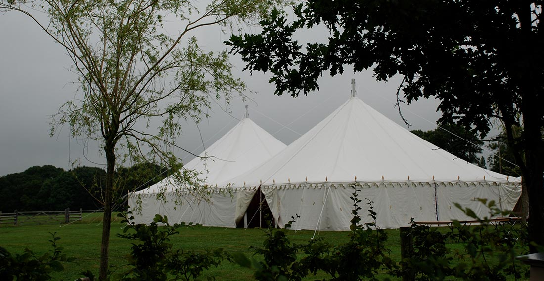 Large Indian Wedding Tent | Center Pole Tent | Off White Canvas Tent